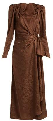 ATTICO The Jacquard Midi Dress - Womens - Brown
