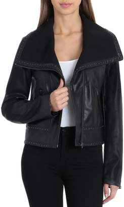 Bagatelle Envelope Collar Faux Leather Biker Jacket