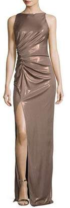 Halston Sleeveless High-Neck Ruched-Side Evening Gown