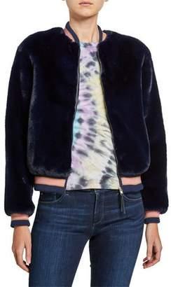 Mother The Letterman Faux-Fur Bomber Jacket