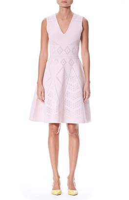 Carolina Herrera V-Neck Sleeveless Pointelle Knit Fit-and-Flare Dress