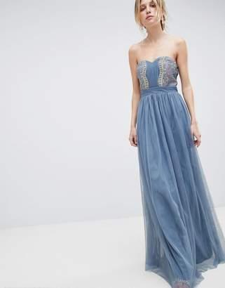 Little Mistress Bandeau Maxi Dress With Lace Detail
