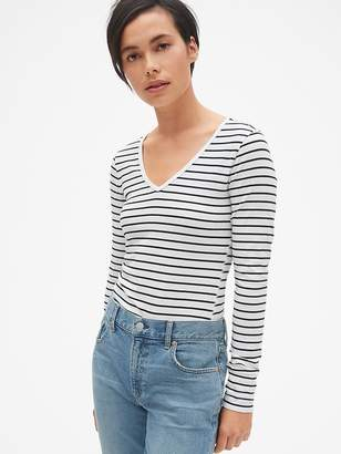 Gap Featherweight Long Sleeve Stripe V-Neck T-Shirt