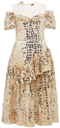 Simone Rocha Ruffled Sequinned Midi Dress - Womens - Gold