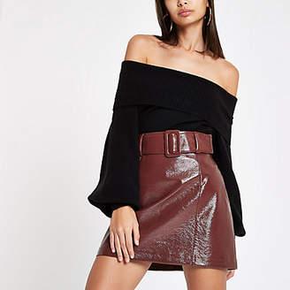 River Island Burgundy vinyl belted mini skirt