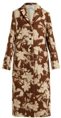 Jil Sander Fullerton Floral Wool And Alpaca Blend Coat - Womens - Brown Multi