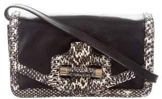Robert Clergerie Snakeskin-Trimmed Leather Bag