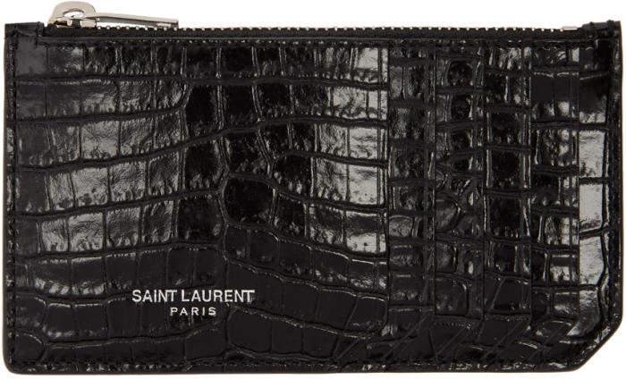 Saint Laurent Black Croc 5 Fragments Zip Card Holder