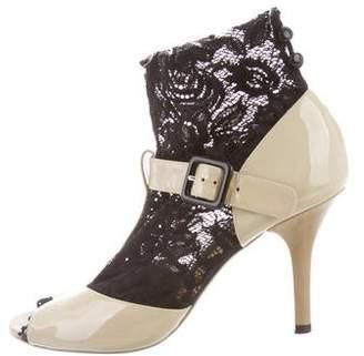 Dolce & Gabbana Lace-Trim Peep-Toe Booties