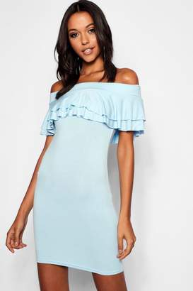 boohoo Tall Off The Shoulder Ruffle Mini Dress
