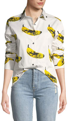 Libertine Long-Sleeve Banana-Print Blouse