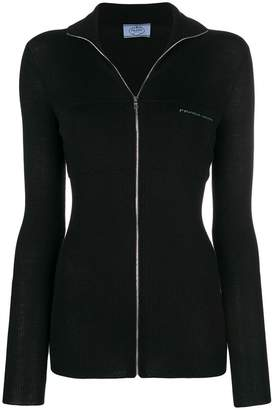 Prada fitted ribbed front zip cardigan