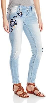 Miss Me Women's Wash Floral Embroidered Skinny Denim Jean