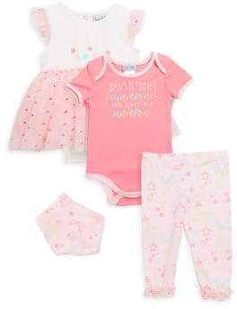 Baby's Four-Piece Creeper Bodysuit, Pants and Scarf Set