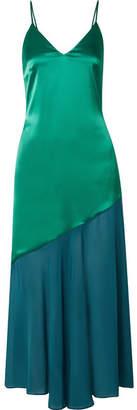 Racil Zsa Zsa Two-tone Satin And Chiffon Midi Dress - Green