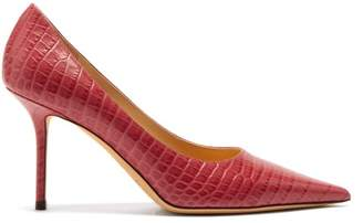 Jimmy Choo Love 85 Crocodile Embossed Leather Pumps - Womens - Pink