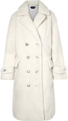 Tom Ford Oversized Crystal-embellished Shearling Coat - Ivory