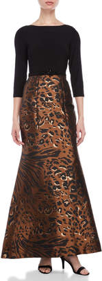 Eliza J Leopard Print Jacquard Skirt Gown