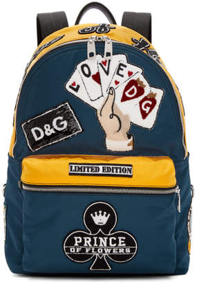 Dolce & Gabbana Blue and Yellow Nylon Prince of Heart Backpack