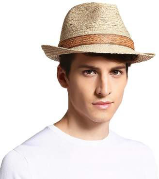 doublebulls hats Straw Jazz Trilby Hats Mens Boys Curved Ribbon Outdoor  Beach Spring Summer Sun Hat 71511f82cf80