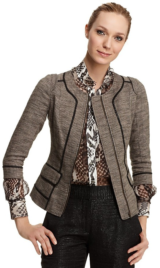 Rachel Roy Signature Novelty Tweed Structured Jacket