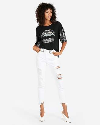 Express Sequin Sleeve Lips Graphic Tee