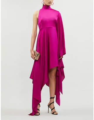 SOLACE London Naida asymmetric satin maxi dress