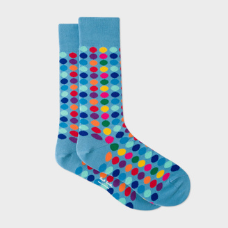 Men's Sky Blue Socks With Multi-Coloured Polka Dots $30 thestylecure.com