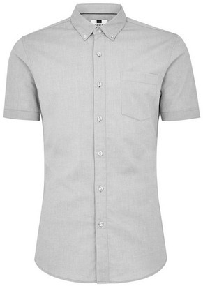 Topman Mens Grey Gray Oxford Short Sleeve Shirt