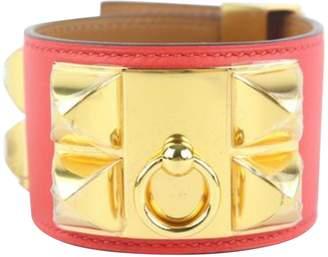 Hermes Collier de chien Red Leather Bracelets