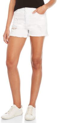 Vervet White High-Waisted Distressed Denim Shorts
