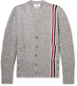 Thom Browne Slim-Fit Striped Wool and Mohair-Blend Cardigan - Gray