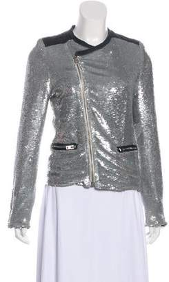 IRO Sequin Structured Leather-Accented Moto Jacket