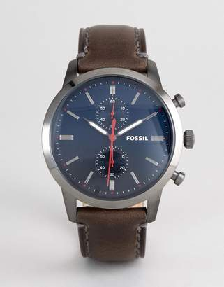 Fossil Chronograph Leather Watch with Dark Blue Dial