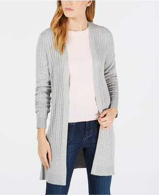 Maison Jules Ribbed-Knit Open-Front Cardigan