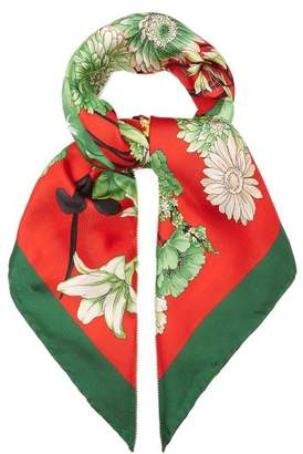 Gucci Gg Belts And Floral Bouquet Print Silk Scarf - Womens - Red