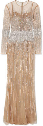 Murad Zuhair Baby Jane Embellished Silk-blend Tulle Gown - Silver