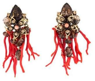 Iradj Moini Dyed Coral, Smoky Quartz & Crystal Drop Earrings