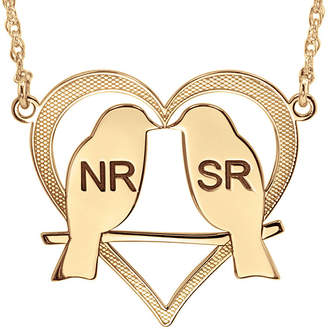 FINE JEWELRY Personalized 25mm Love Birds Heart Couples Necklace