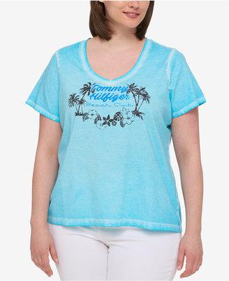 Tommy Hilfiger Plus Size Cotton Printed V-Neck T-Shirt $39.50 thestylecure.com