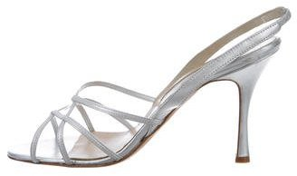 Manolo Blahnik Metallic Slingback Sandals $90 thestylecure.com