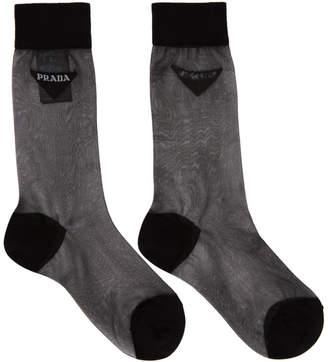 Prada Black Mesh Logo Socks