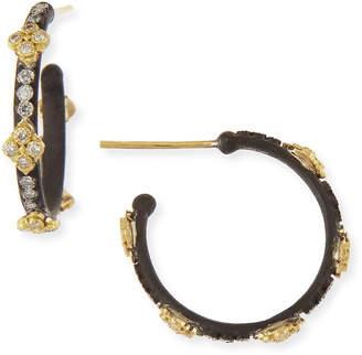 Armenta Small Midnight Hoop Earrings with Gold & Diamond Crivelli Crosses