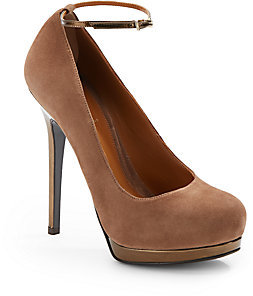 Fendi Let Me In Suede & Metallic Leather Ankle Strap Pumps