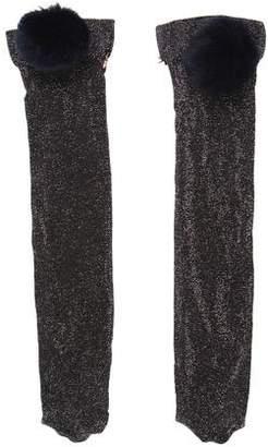Edie Parker Fur-Trimmed Lurex Socks