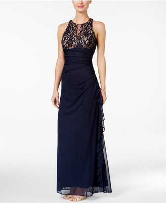 B&A By Betsy and Adam Lace-Accent Halter Gown $139 thestylecure.com