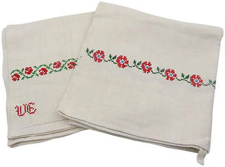One Kings Lane Vintage Antique French Linen Dish Towels - Set of 2 - Rose Victoria