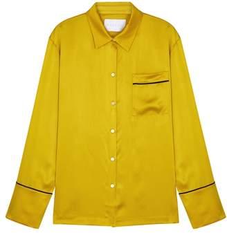 Asceno ASCENO Yellow Silk Pyjama-style Blouse
