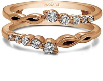 Charles & Colvard TwoBirch Graduated Infinity Ring Guard with Forever Brilliant Moissanite by Charles Colvard in 10k Rose Gold (0.25 ct.)