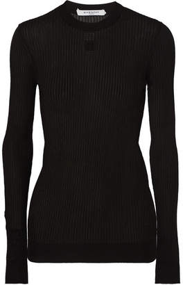 Givenchy Embroidered Ribbed-knit Top - Black